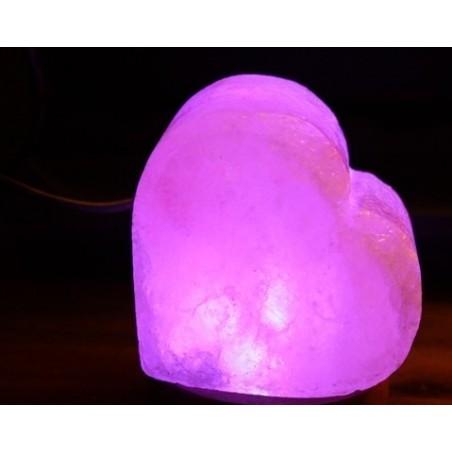 Lampada di Sale Rosa USB Cuore Led Multicolor per Cromoterapia