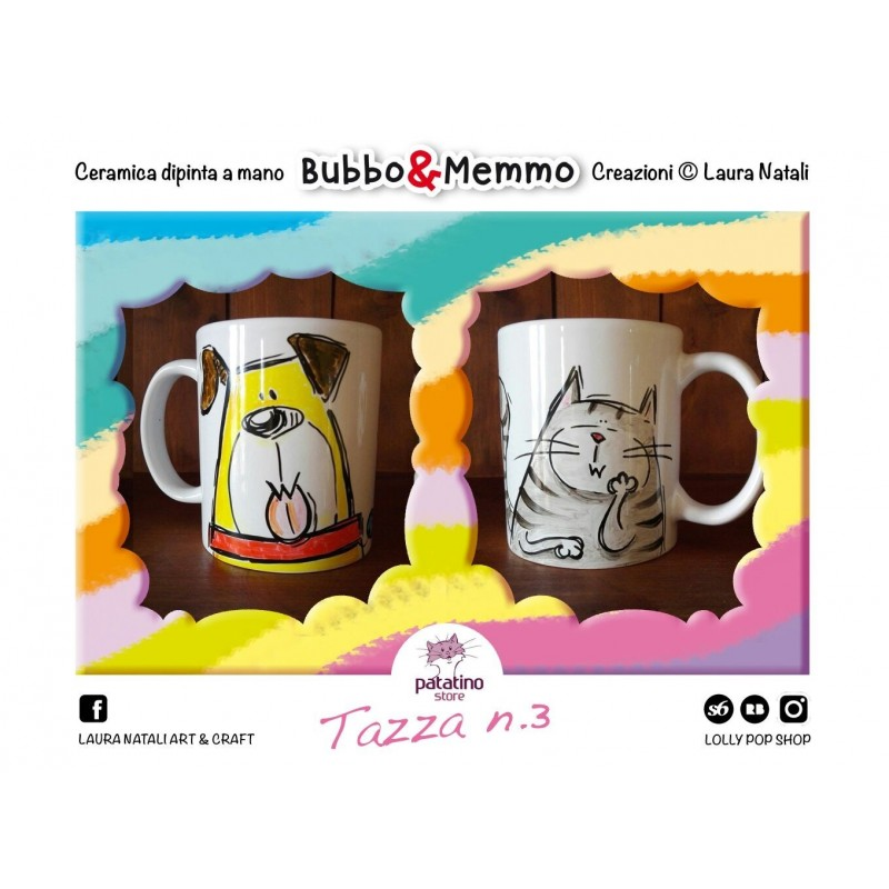 Tazza nr. 3 Bubbo & Memmo dipinta a mano